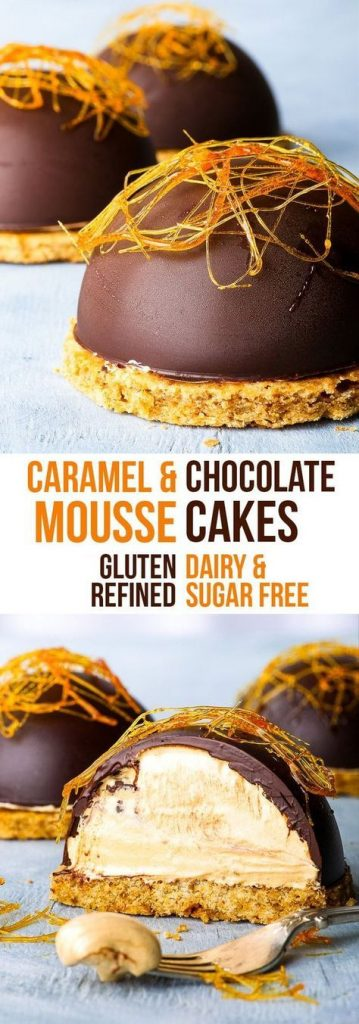 Caramel Mousse Cakes (Gluten & Dairy Free, Refined Sugar Free Option)